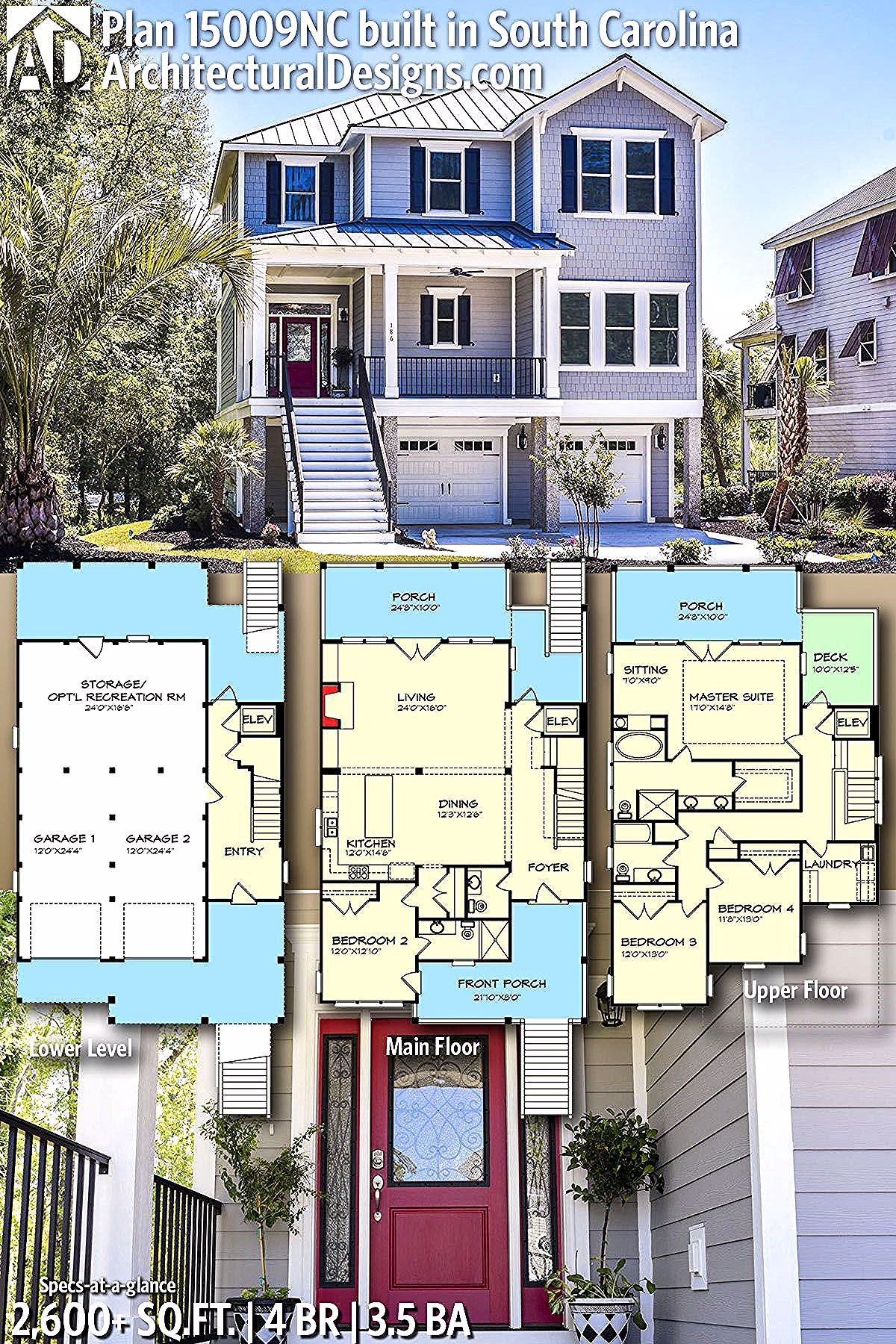 Architectural Designs House Plan 15009nc Built By Our Friends In South Carolina 4br 3 5ba 2 Coastal House Plans Beach House Floor Plans Beach House Plans