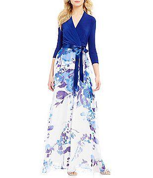 7b8d6c4a88b6 Leslie Fay 3/4 Sleeve Jersey Floral-Print Maxi Dress   fashion ...