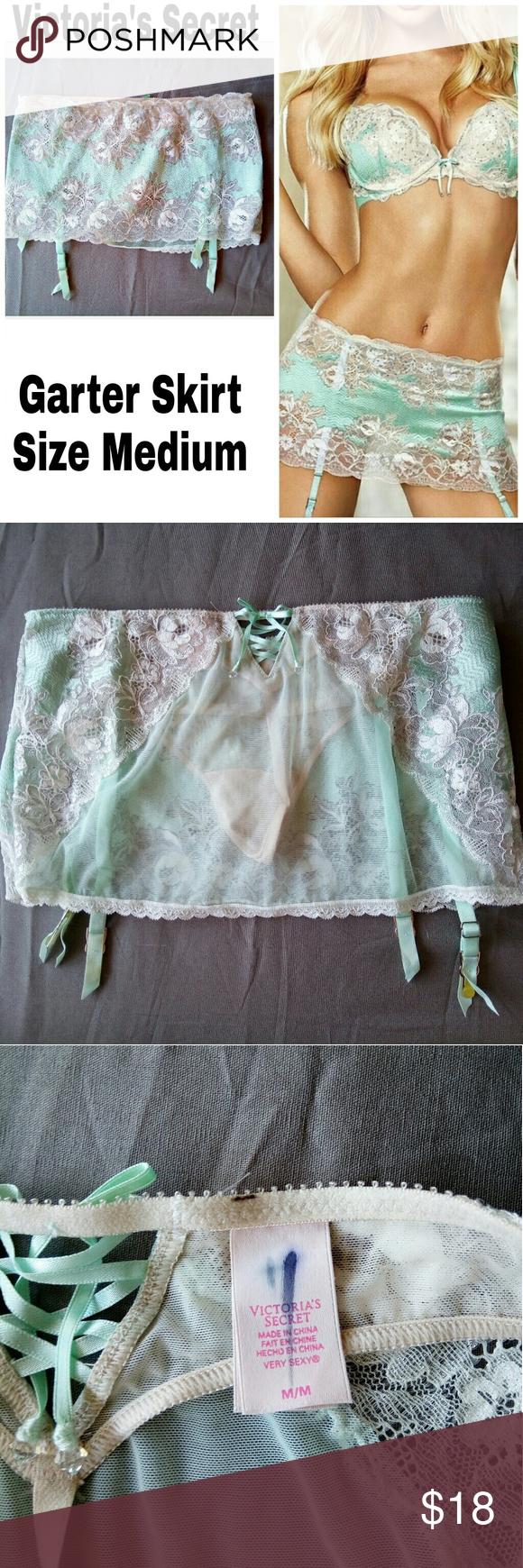 76f0a62b8 NWOT Victoria s Secret Garter Skirt Mint Panties Mint green teal pastel  white lace garter skirt belt