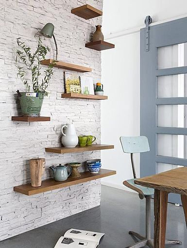 Create An Elegant Statement With A White Brick Wall Design Ideas Floating Shelves Shelves Home Decor