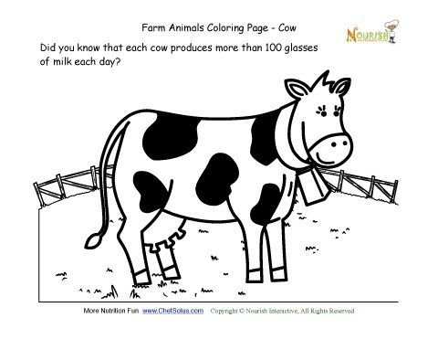 Farm Animals Coloring And Fun Fact Page Learn About The Cow Farm Animal Coloring Pages Farm Animals Cow Pictures