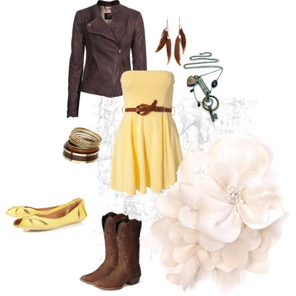 Yellow and Brown, created by hayleejade3 on Polyvore