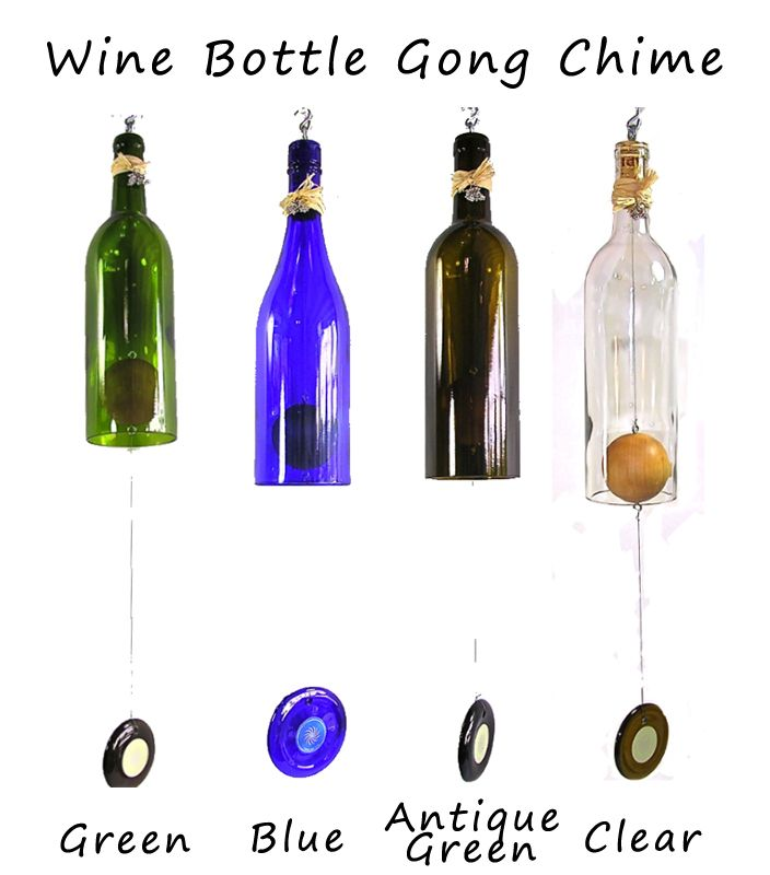 Slumping bottles renovated wind chimes for Glass bottle wind chimes