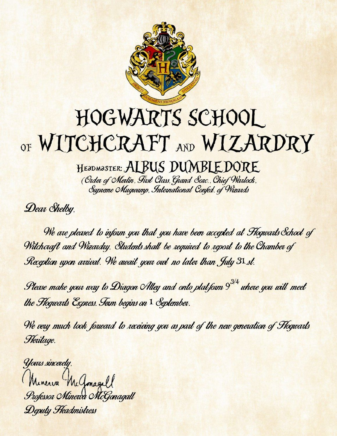 Personalized Harry Potter Acceptance Letter