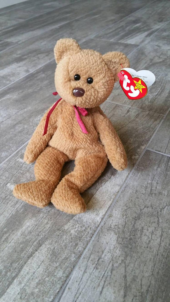 b75218b4b5d RARE 1st Edition Curly Beanie Baby NO Star on Tush Tag PVC Pellets Errors  Collectible Ty Bear Girl B