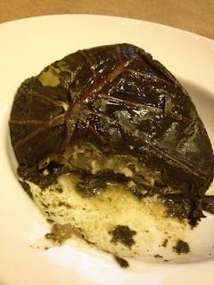 Palusami-I could not get taro leaves so I used collard greens(the biggest leaves I could find) the inside was delicious but the collard greens were bitter.