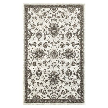 LR Home Adana White and Brown Indoor Runner Rug(1'10 inch x 7'5 inch)