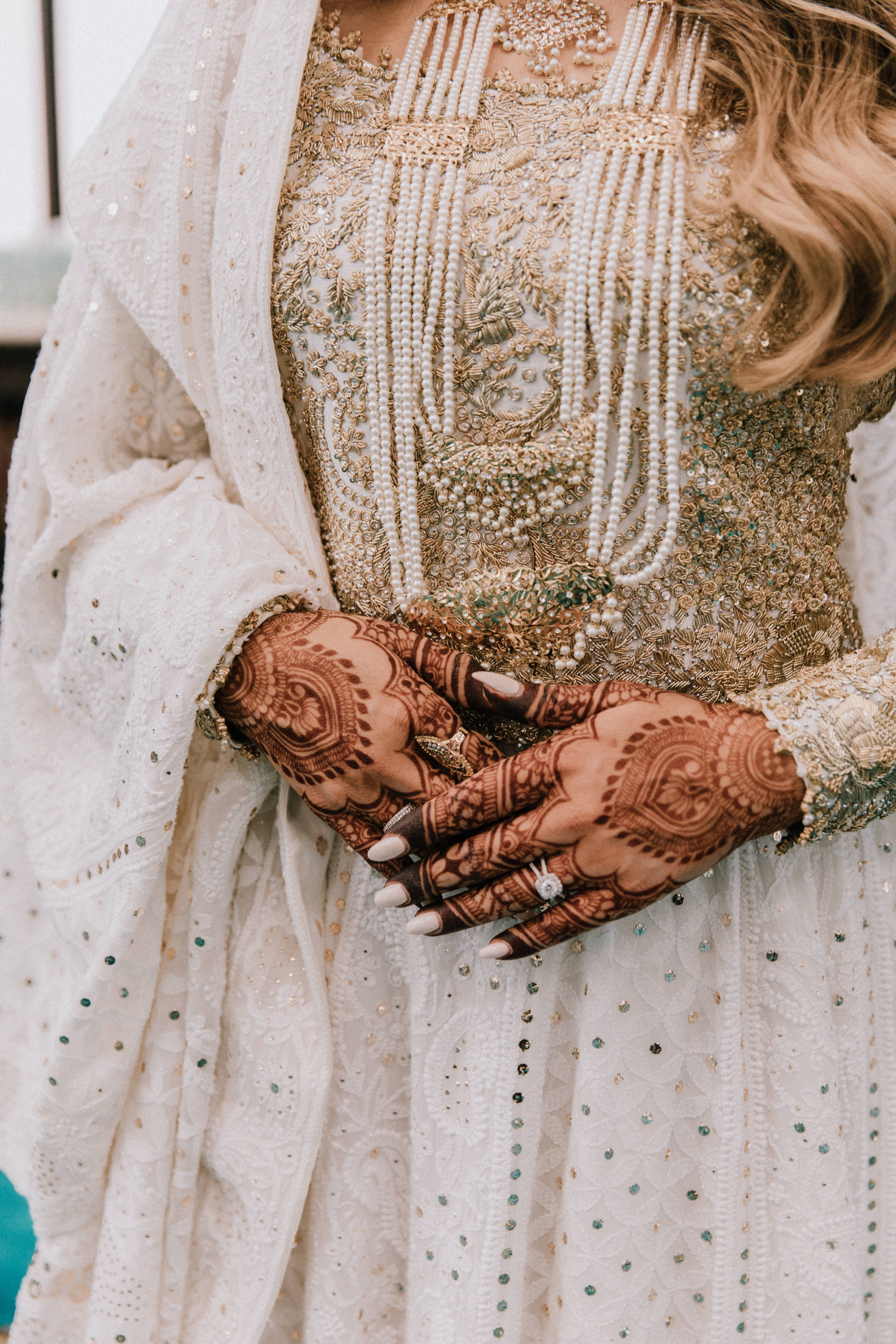 Some gorgeous bridal inspiration for your feed today!✨ Loved this classic and traditional look for our bride's Nikah ceremony!❤️ There is something about having simple and elegant details that always creates a timeless look!✨ #nikahinspiration #bridedetails #southasianbrideinspiration #weddingdiaries #traditionandculture #whiteandgold