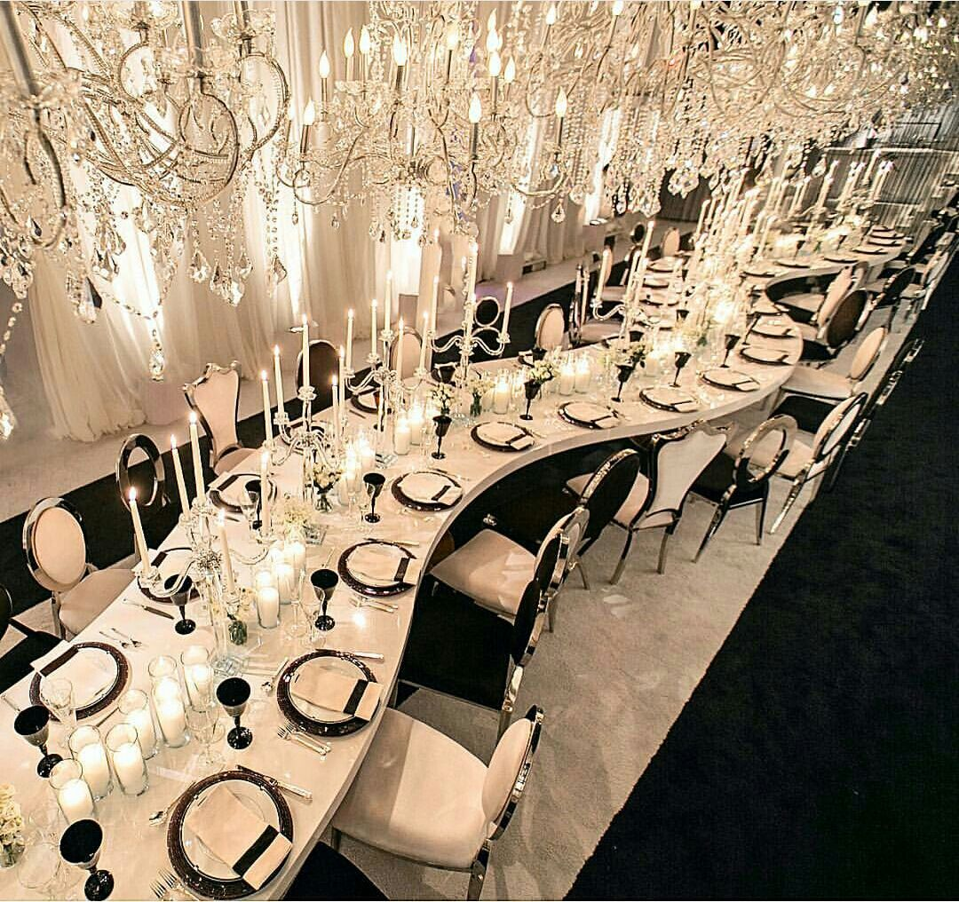 Fashion Glamour Style Luxury Elegant Wedding Reception Wedding Table Settings Wedding Modern