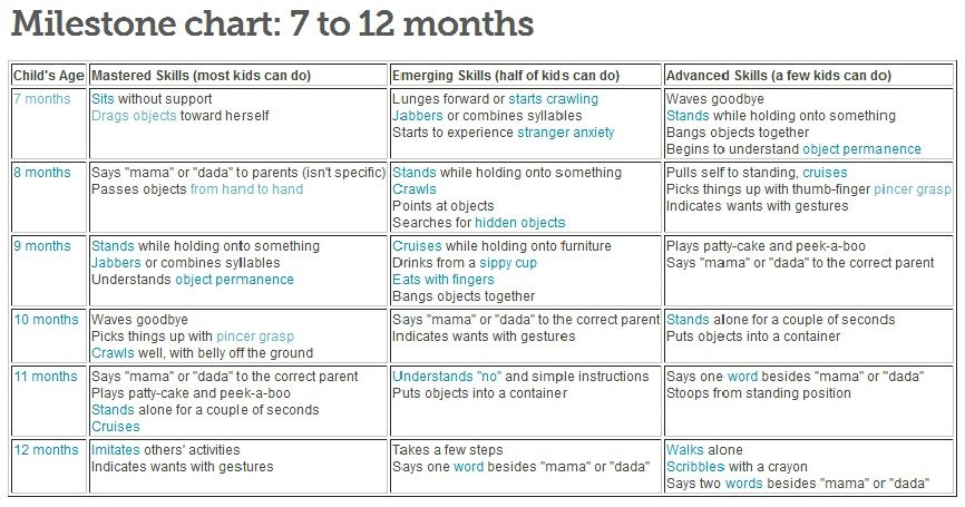 7 12 months milestone chart from baby center saved copy for What should a 14 month old be doing