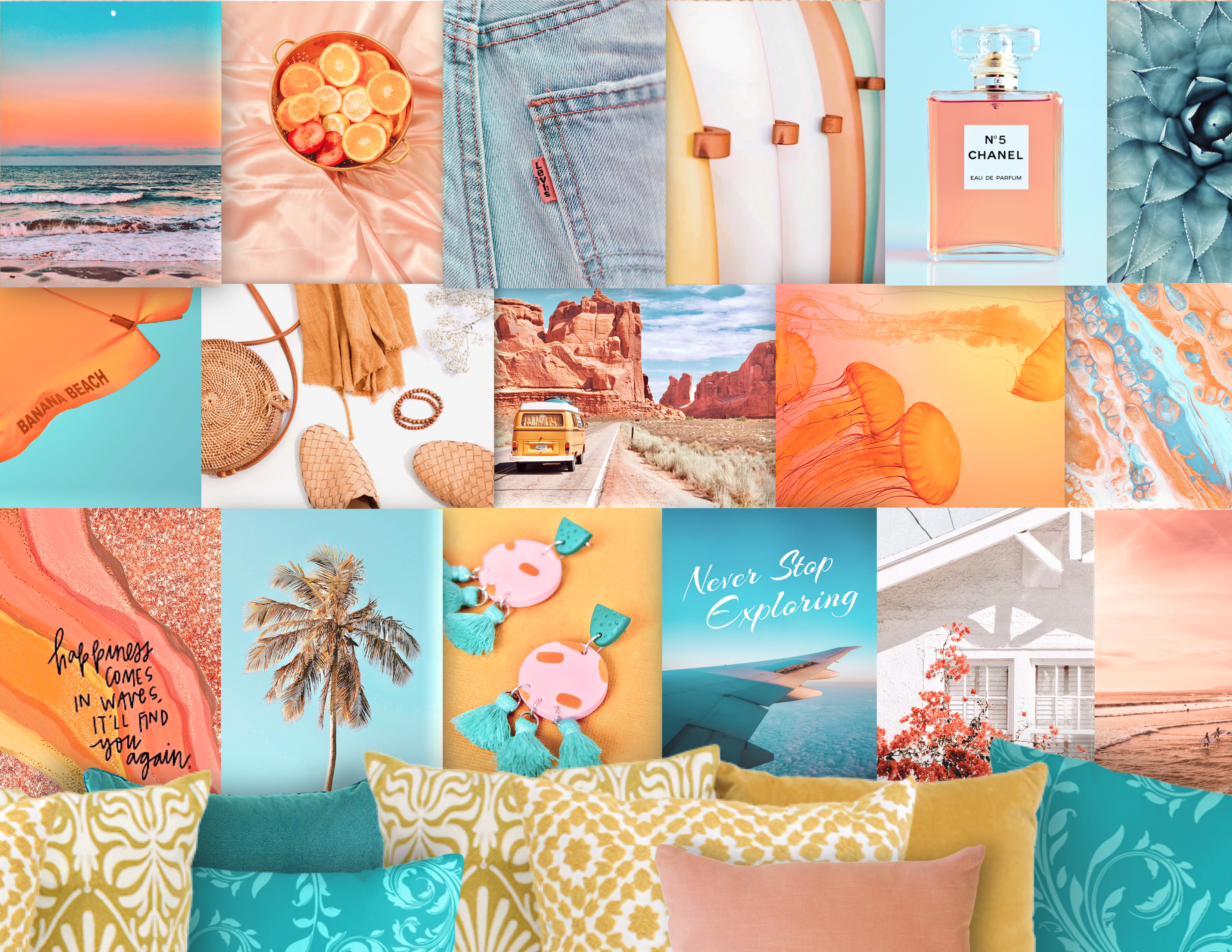 Tropical Desert Wall Collage Kit Vsco Image Collection The Etsy In 2020 Dorm Room Wall Art Pink Wall Art Room Wall Art