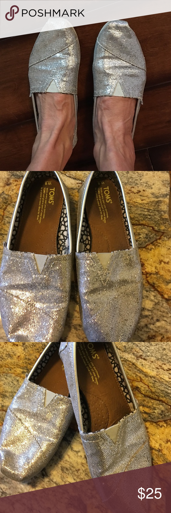 Toms silver glitter shoe Used but with no rips or cracks in shoe TOMS Shoes Espadrilles