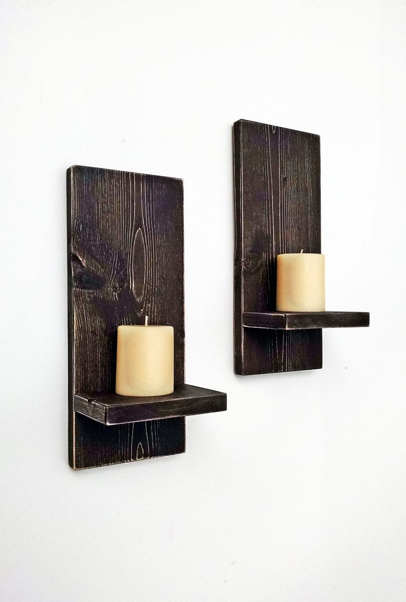 Rustic Wall Sconces (pair) - Wood Wall Candle Holders - Primitive ...