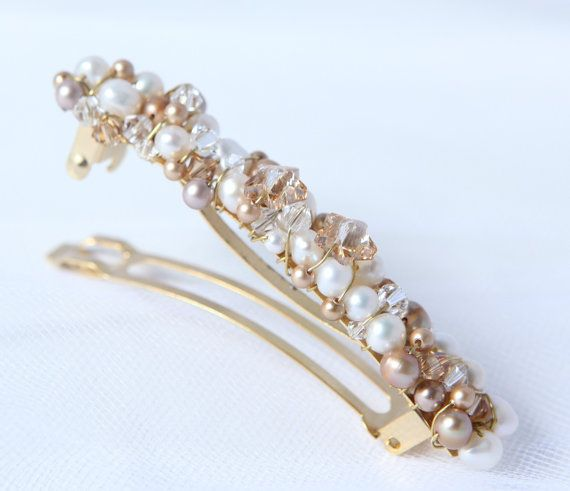 gold hair barrette french barrette gold hair clip by Phaness, $28.00