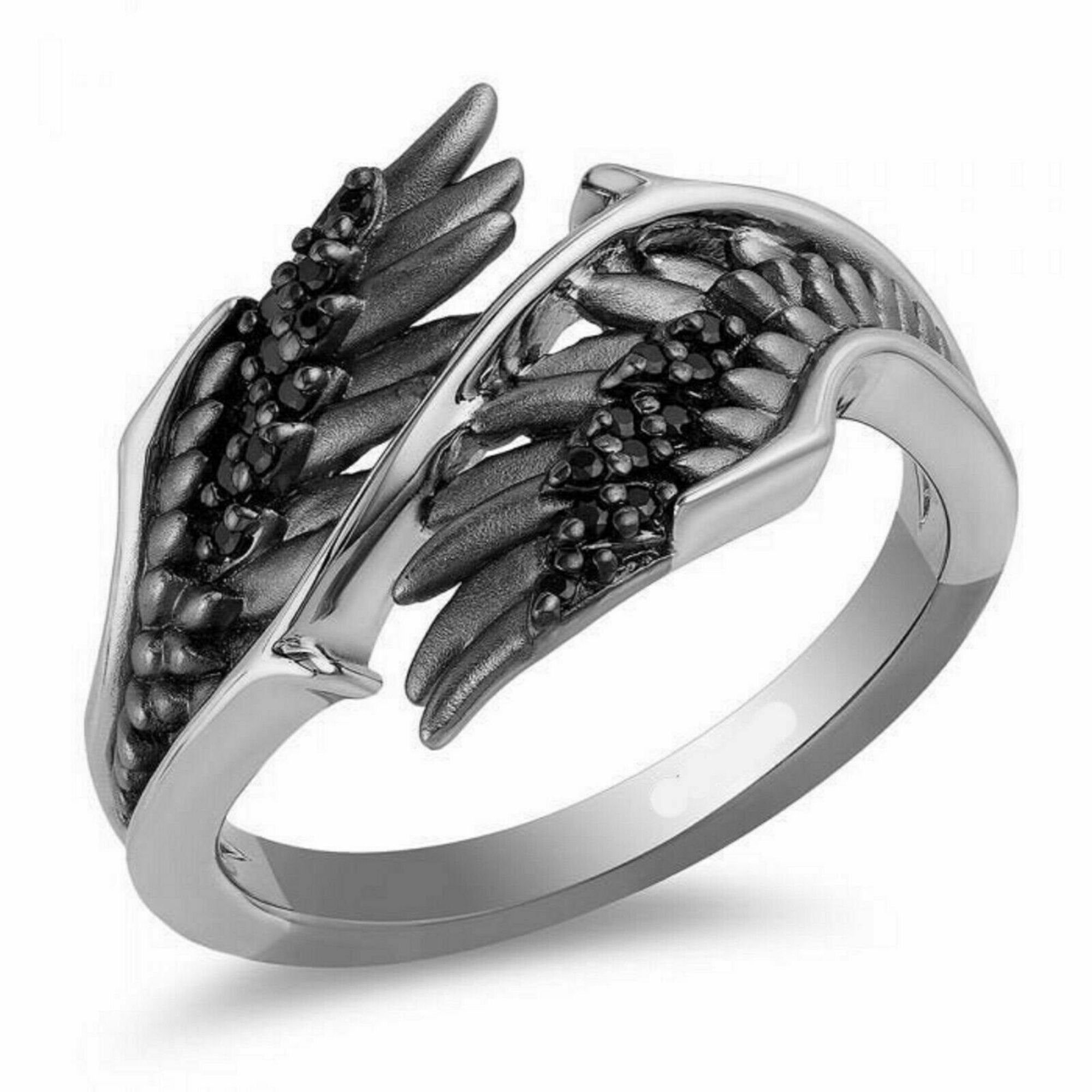 Enchanted Disney Villains Malefivent Angle Wings Womens Ring 925 Sterling Silver