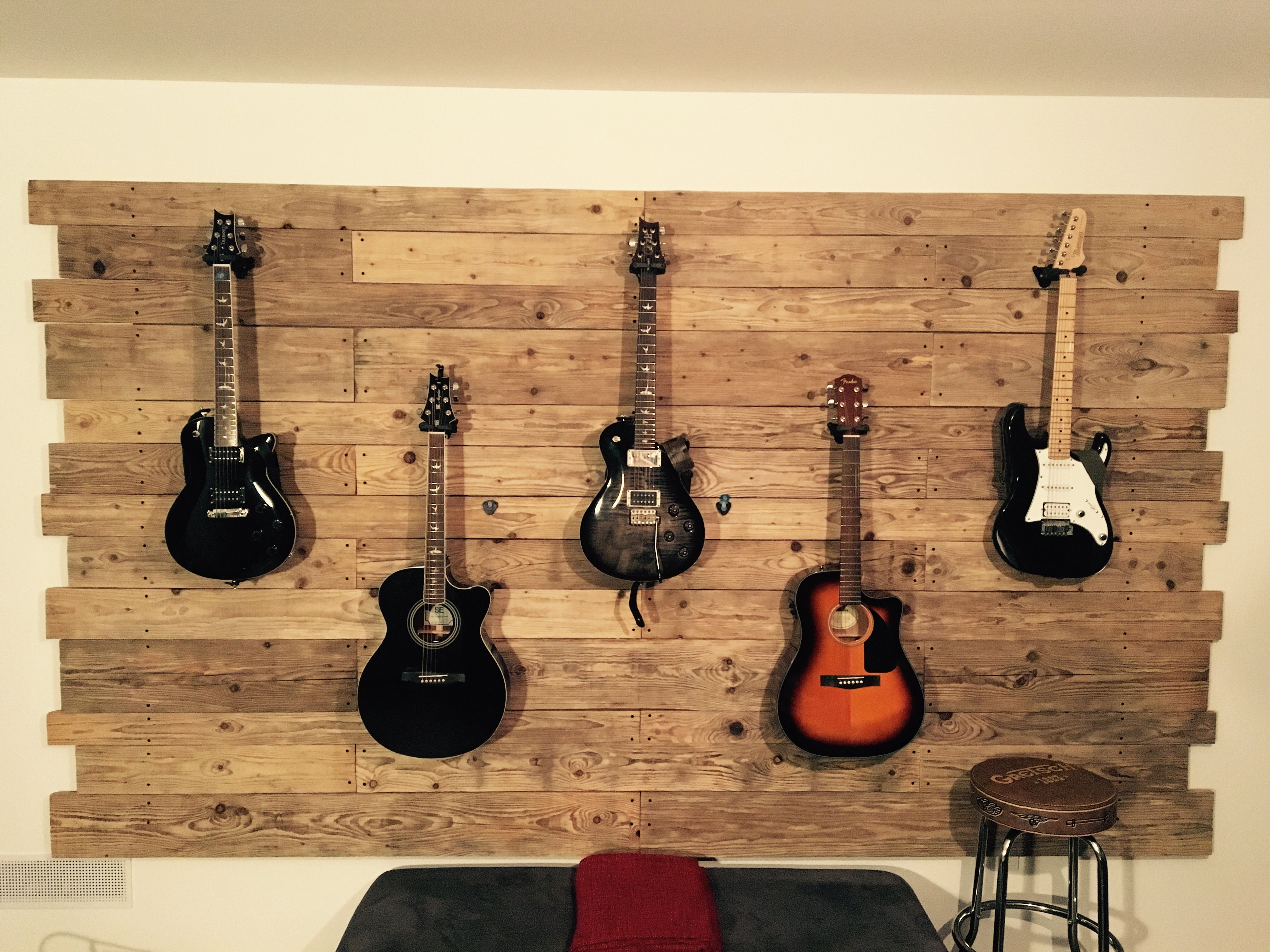 Hanging Guitars On Wooden Wall My Homework