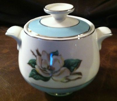 VINTAGE WHITE MAGNOLIA COVERED SUGAR BOWL (TURQUOISE) by Lifetime China Co