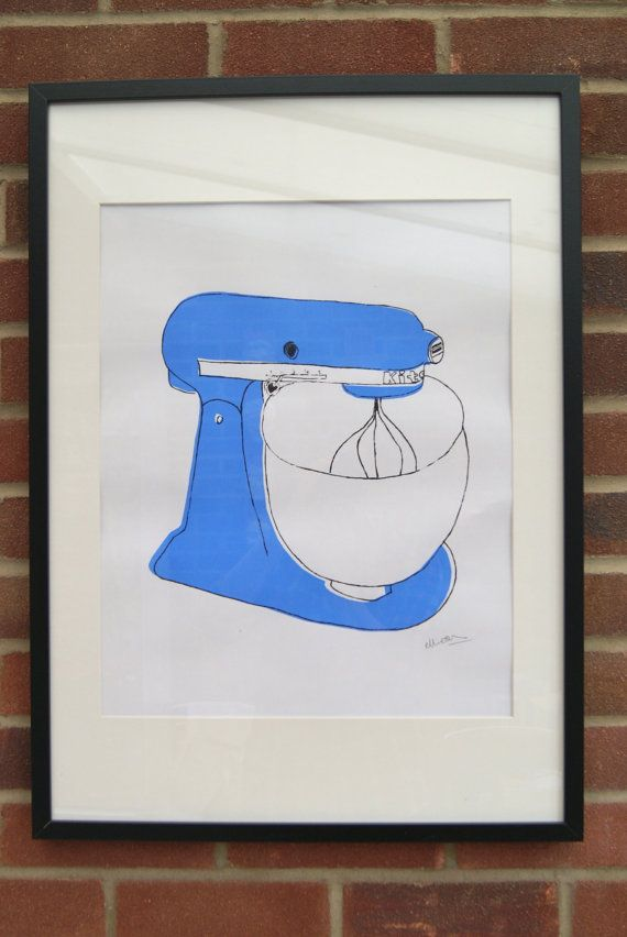 A2 Silk Screen Print of Classic Food Mixer in Blue by elliedraws, £30.00