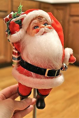 Bouncing Hanging Vintage Santa Claus Red Flocked Plastic Retro Christmas