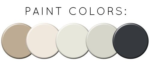 "Farrow & Ball ""London Stone"" = floors, ""Slipper Satin"" = ceilings, ""Railings"" = windows & interior roof, Little Greene's ""French Grey Pale = walls, ""French Grey Medium"" = cupboards"