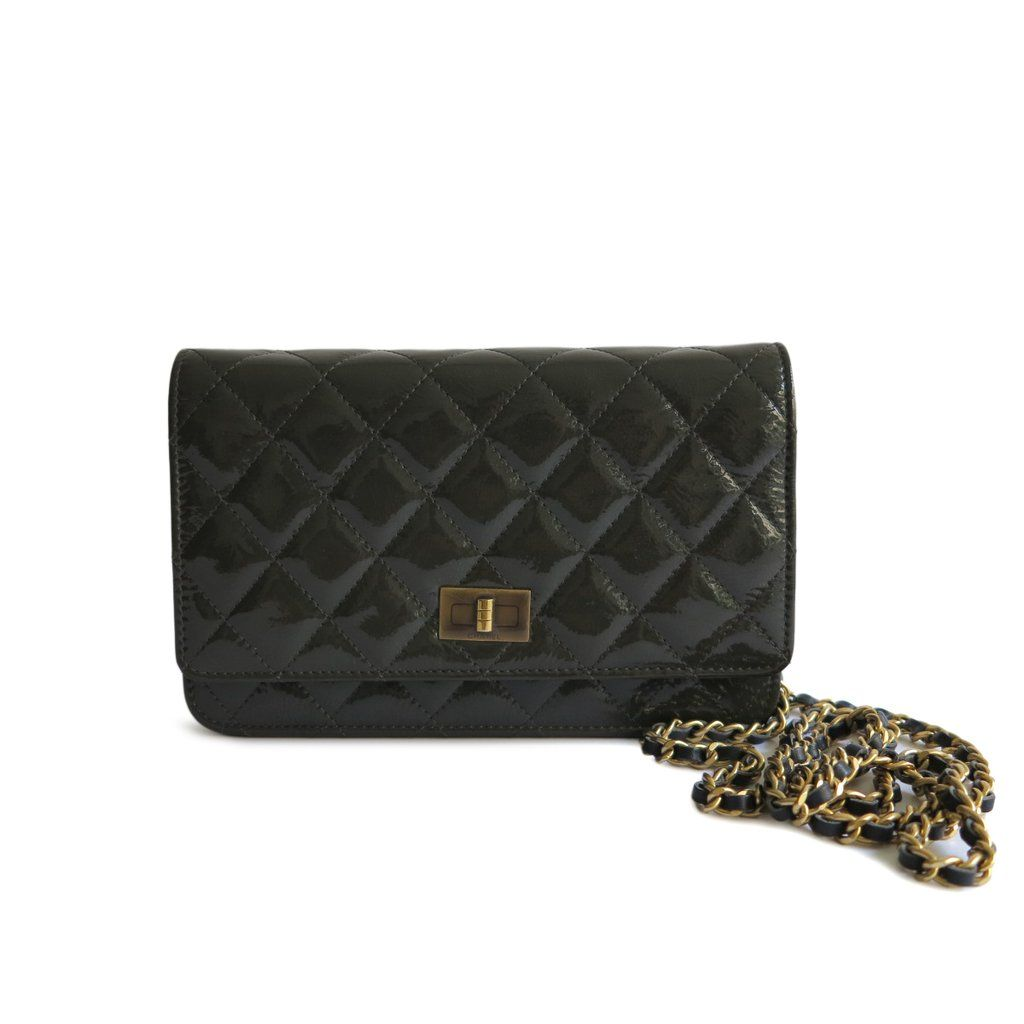 433ff049caaaeb Authentic CHANEL 2.55 Wallet On Chain WOC in Dark Olive Grey Patent Leather  - Dearluxe.