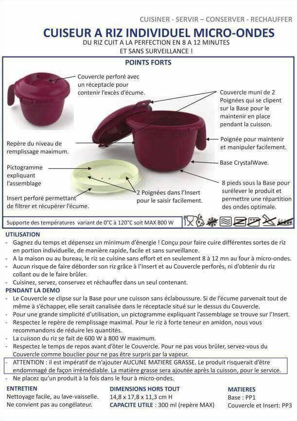 Cuiseur a riz individuel micro ondes fiches techniques - Atelier cuisine tupperware ...