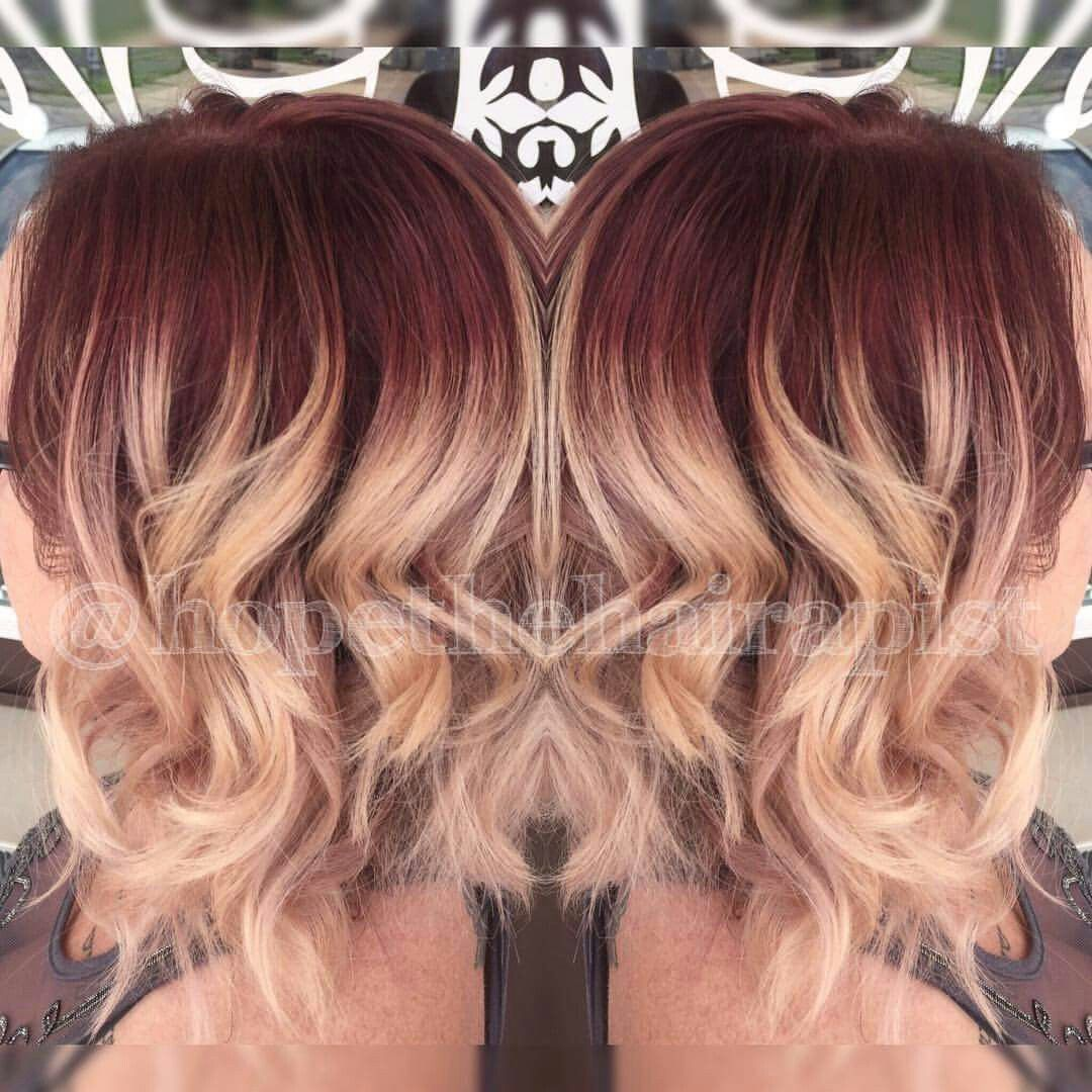 Vanity Hair Salon In Alton Mo Red Violet Shadow Root Red Roots Blonde Hair Blonde Hair With Roots Hair