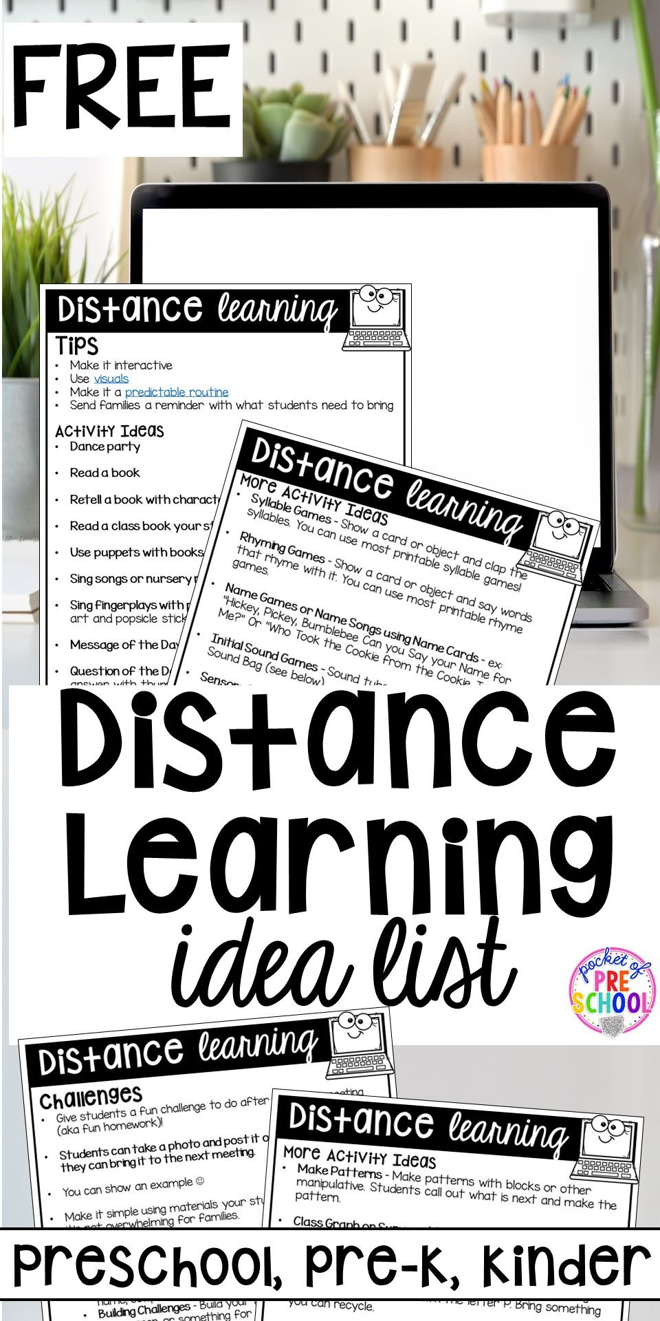 Distance Learning Idea List for Preschool, Pre-K, and Kindergarten - Pocket of Preschool