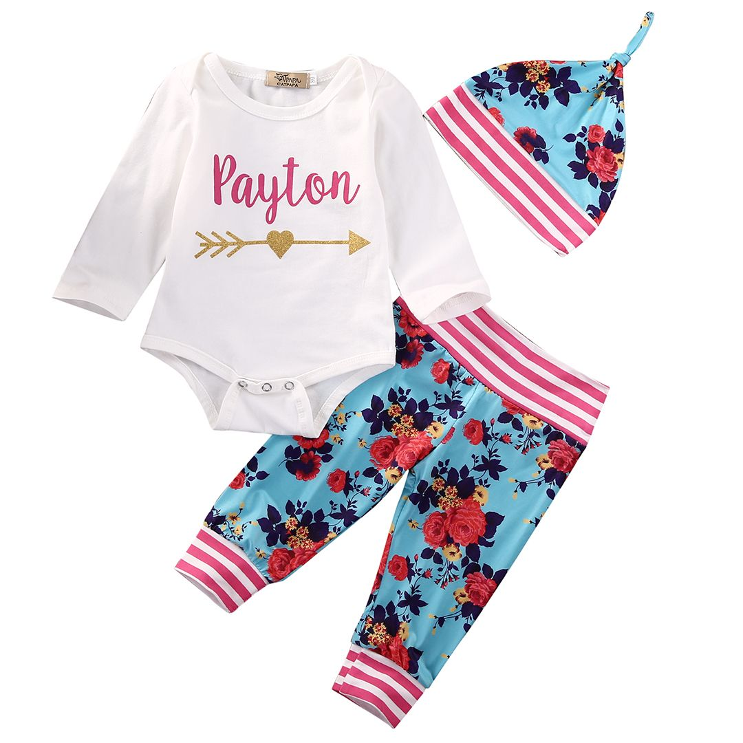 00b35f75cc9f Cute Newborn Infant Baby Boy Girl Clothes Set Long Sleeve Romper ...