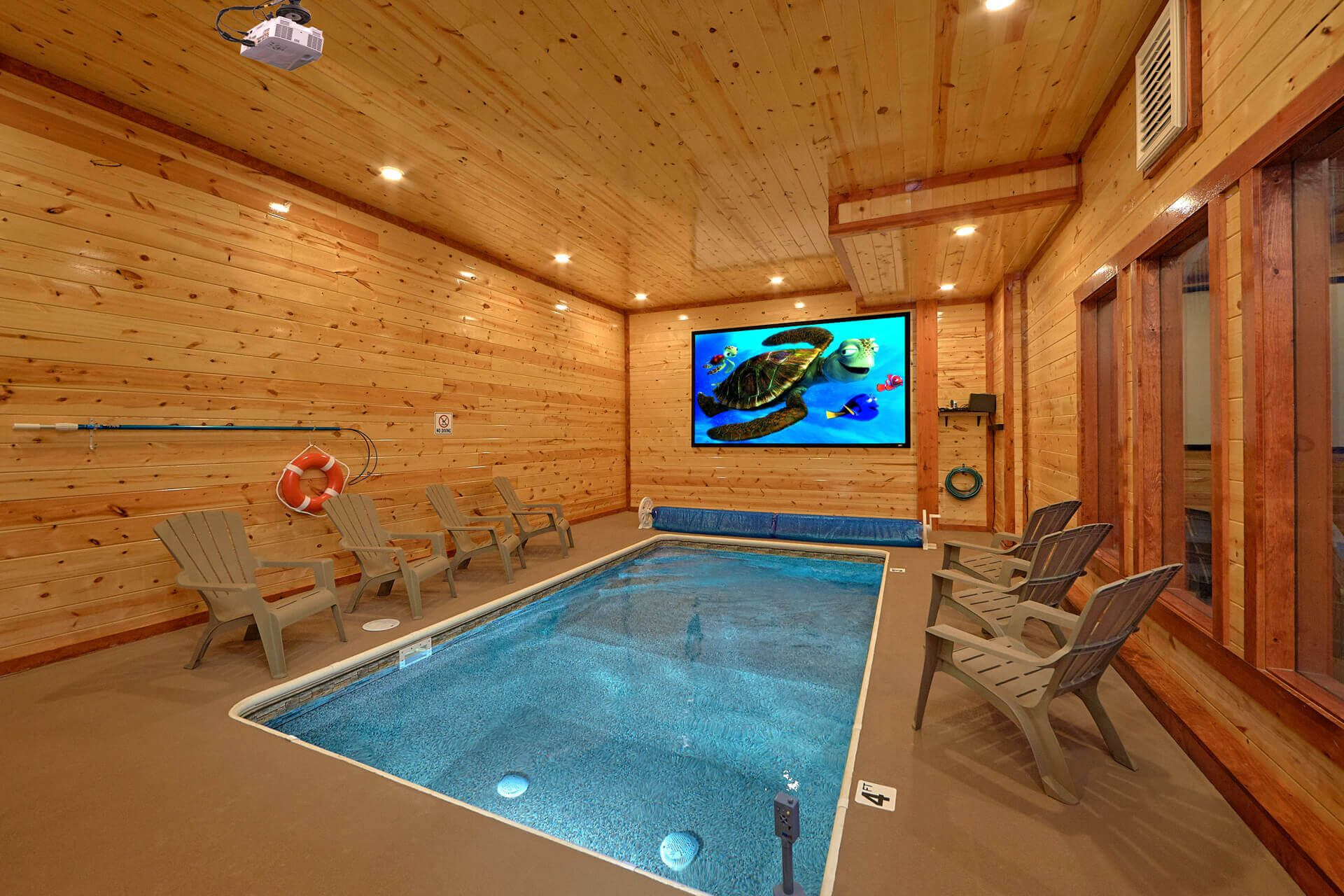 Splash Mountain Lodge Cabin In Wears Valley Indoor Pool Design Indoor Swimming Pool Design Small Indoor Pool