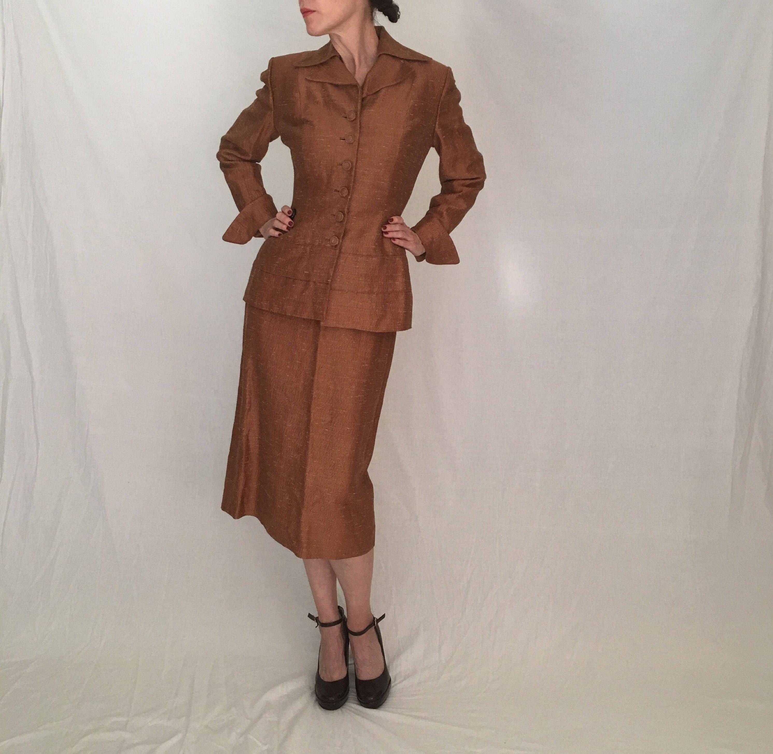 Vintage Lilli Ann 1940s 1950s Suit Women Small Xs 2 4 Brown Beige