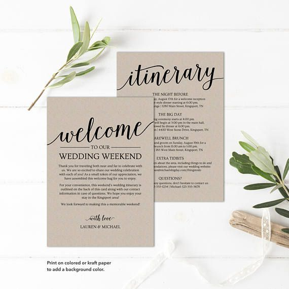 Wedding Itinerary Template  Printable Welcome Itinerary