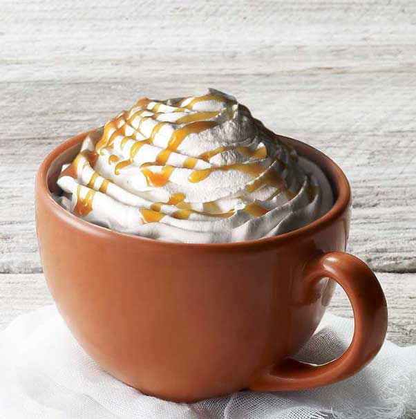 Espresso, Foamed Milk And Pumpkin Spice With Whipped Cream