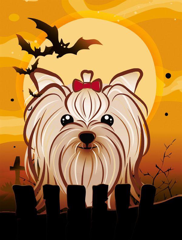 Halloween Yorkie Yorkishire Terrier 2 Sided Garden Flag