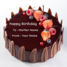 Birthday Chocolate Velvet Decorated Cake With Your NameName On For WishesOnline Name Pics GeneratorEdit Photo