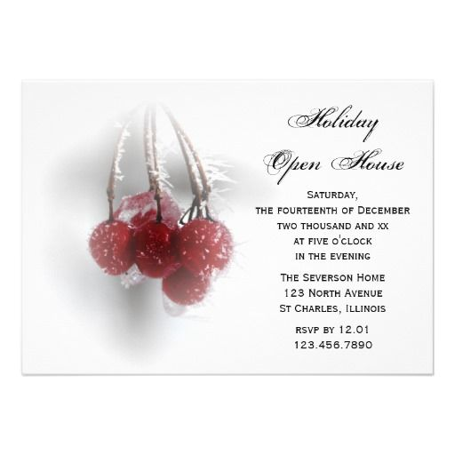 Frosty Red Berries Holiday Open House Party Invite