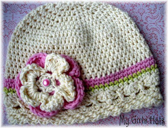 Sweet Caroline-Crochet Hat-Lime Green-Soft Pink-Ivory-Flower Clip ...