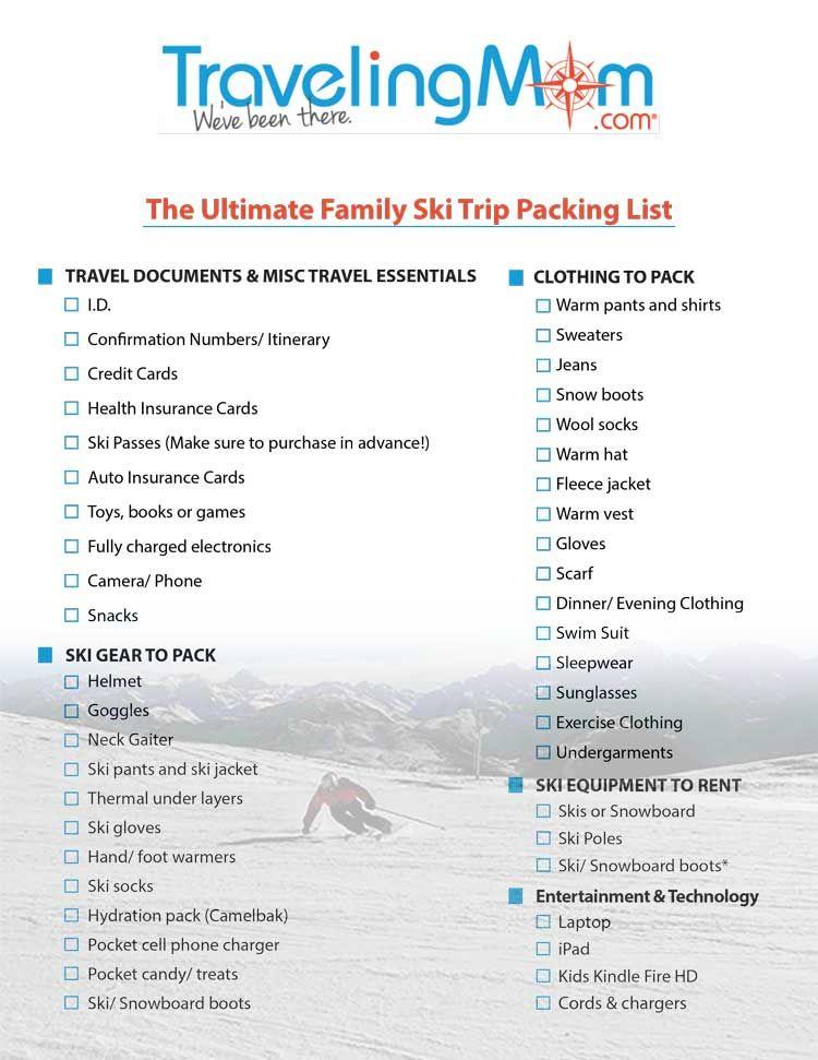 The Ultimate Ski Trip Packing List Downloadable List Ski Trip