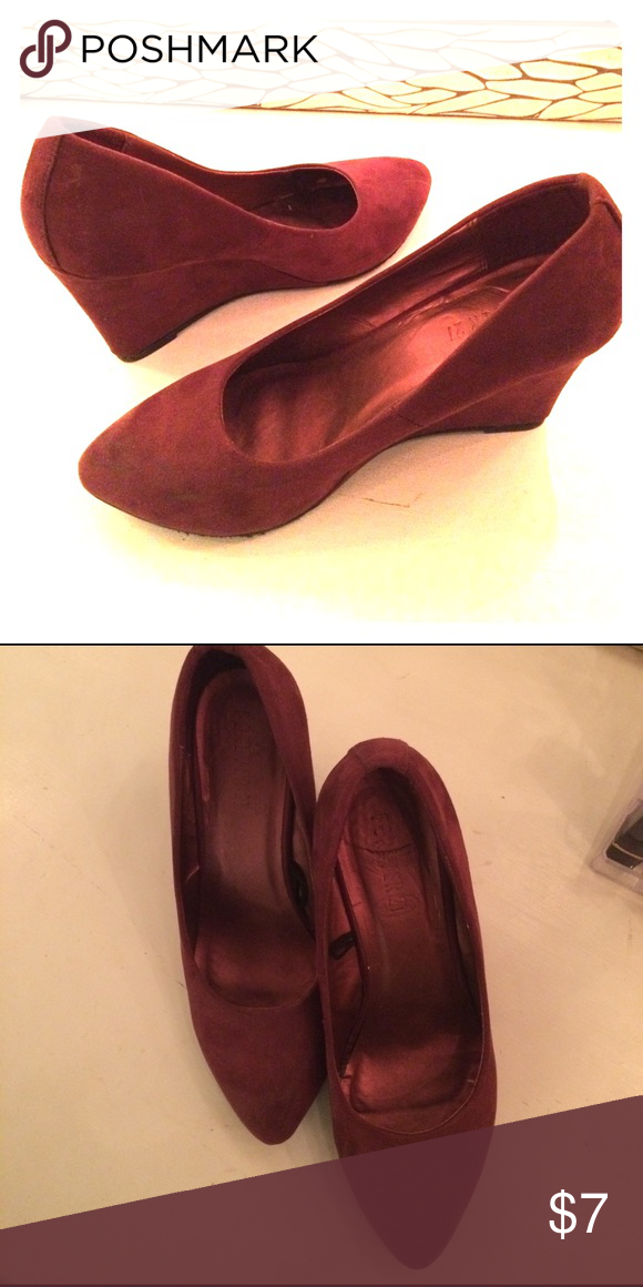 Suede wedge heels Cranberry/sangria color, soft suede, only worn a few times! Size 7 Forever 21 Shoes Wedges