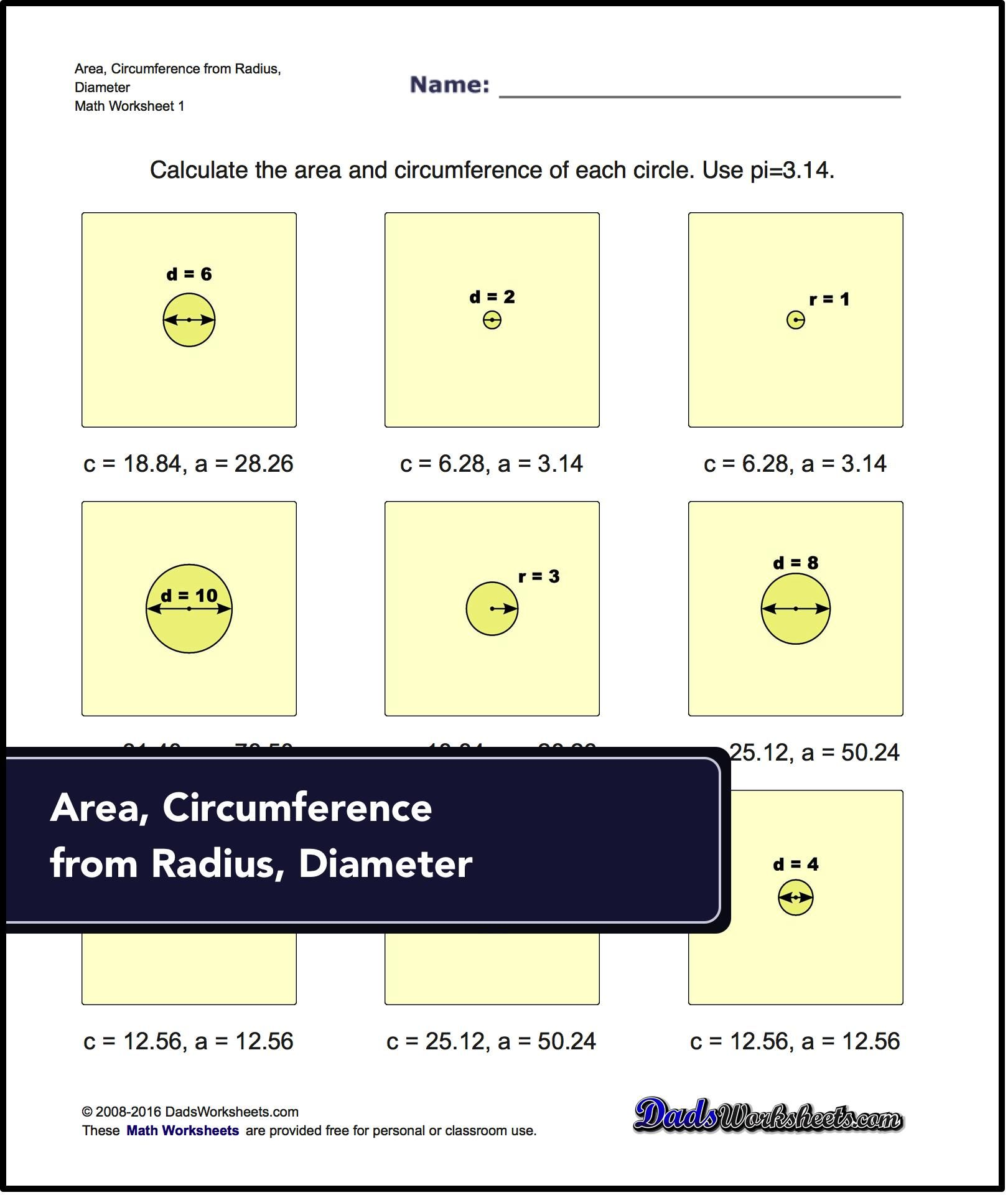 Geometry Worksheets With Problems Calculating A Circle S Area And Circumference