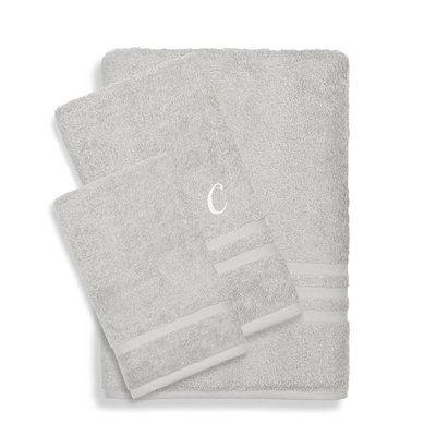 d82c8a6b1 Linum Home Textiles Denzi 3 Piece 100% Cotton Towel Set Monogrammed Letter:  M, Color: Grey