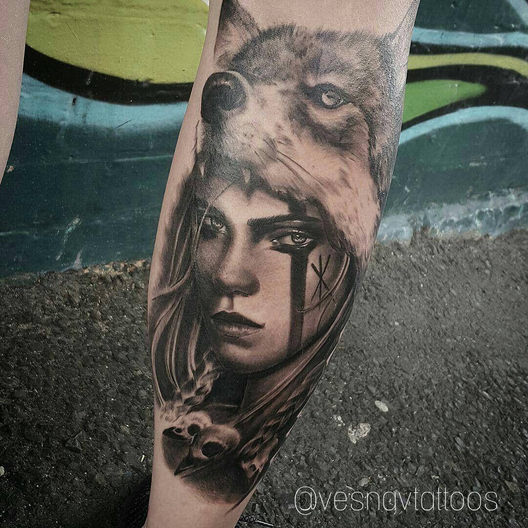 Girl With Wolf Headdress Tattoo Headdress Tattoo Female Warrior Tattoo Wolf Tattoos