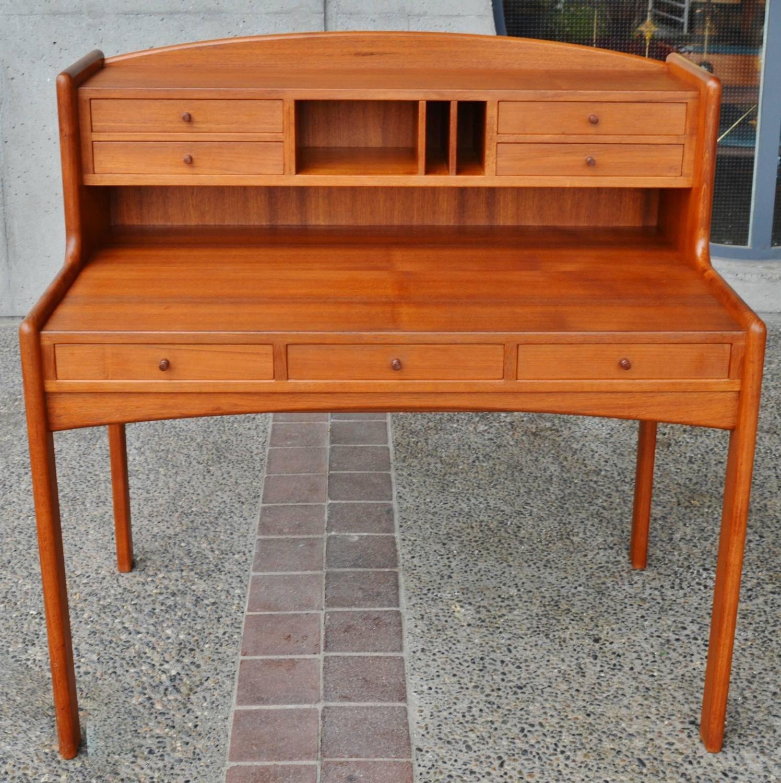 Solid teak desk sales counter with finished back danish modern for sale at 1stdibs