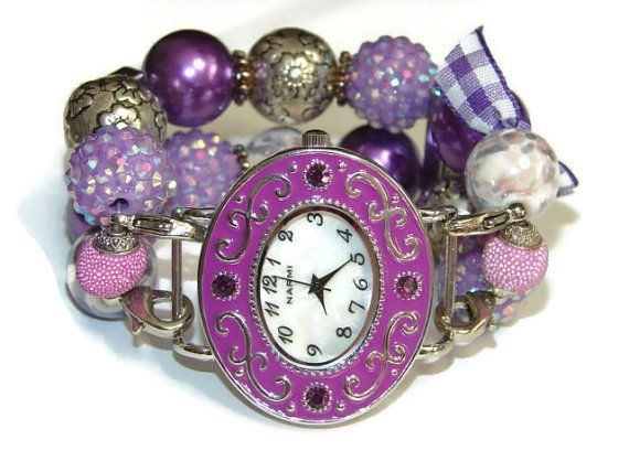 Purple Chunky Beaded Watch  Interchangeable Band  by BeadsnTime