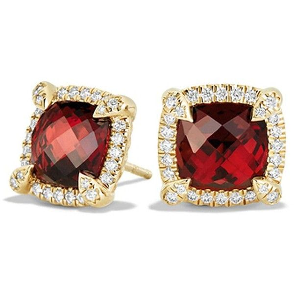 David Yurman Women's Ch?telaine Pave Bezel Stud Earring with Garnet... (33.570.940 IDR) ❤ liked on Polyvore featuring jewelry, earrings, apparel & accessories, garnet, david yurman jewelry, pave earrings, pave jewelry, diamond earrings and garnet earrings