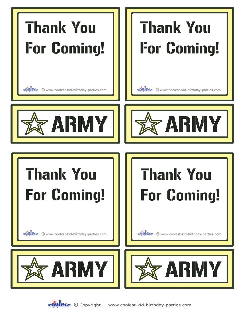 Printable Army Star Thank You Cards