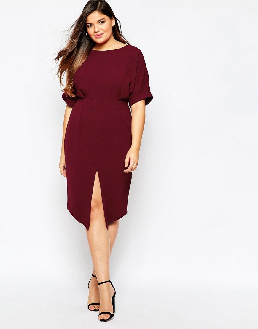 3fb67699d36 Image 4 of ASOS CURVE Plain Wiggle Cut Out Back Dress