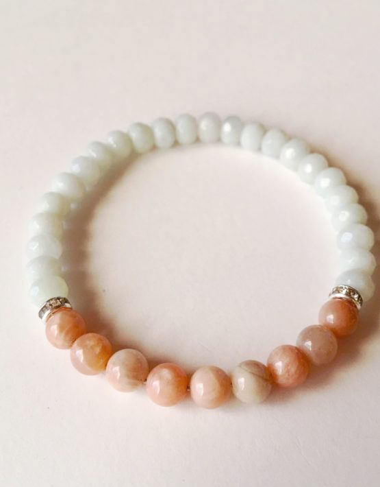 Peace & Inner Worth ~ Serenity Collection ~ Peach Moonstone & Amazonite Bracelet w/ Swarovski Crystal Spacers ~ 6mm Beads
