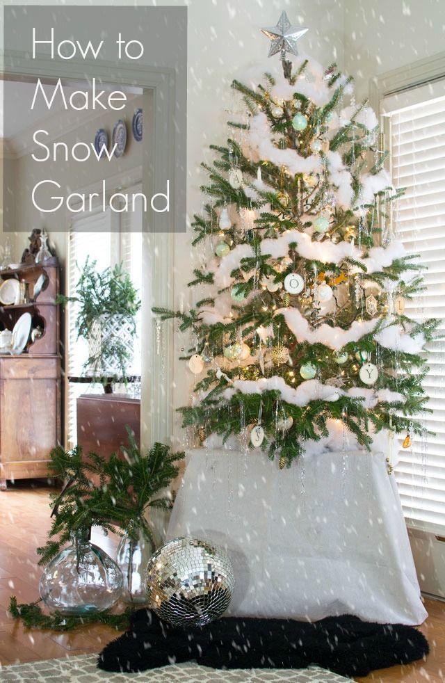 How To Make A Snow Garland Homeology Modern Vintage Diy Christmas Tree Christmas Tree Decorations Christmas Decorations