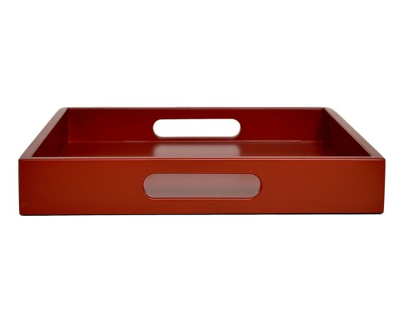 Tremendous Dark Red Serving Tray With Handles Kitchen Decor Coffee Gamerscity Chair Design For Home Gamerscityorg